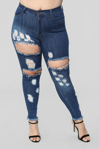 Treat Me Right High Rise Distressed Jeans - Dark Denim Angle 10