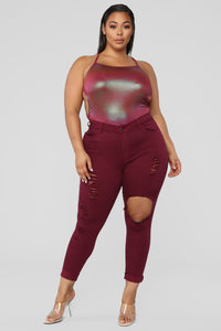 Glistening Jeans - Burgundy Angle 8
