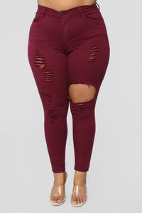 Glistening Jeans - Burgundy Angle 7
