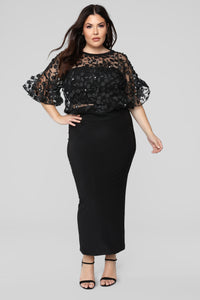 Love And Lace Chiffon Top - Black Angle 8