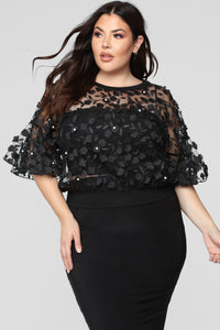 Love And Lace Chiffon Top - Black