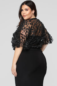 Love And Lace Chiffon Top - Black Angle 12