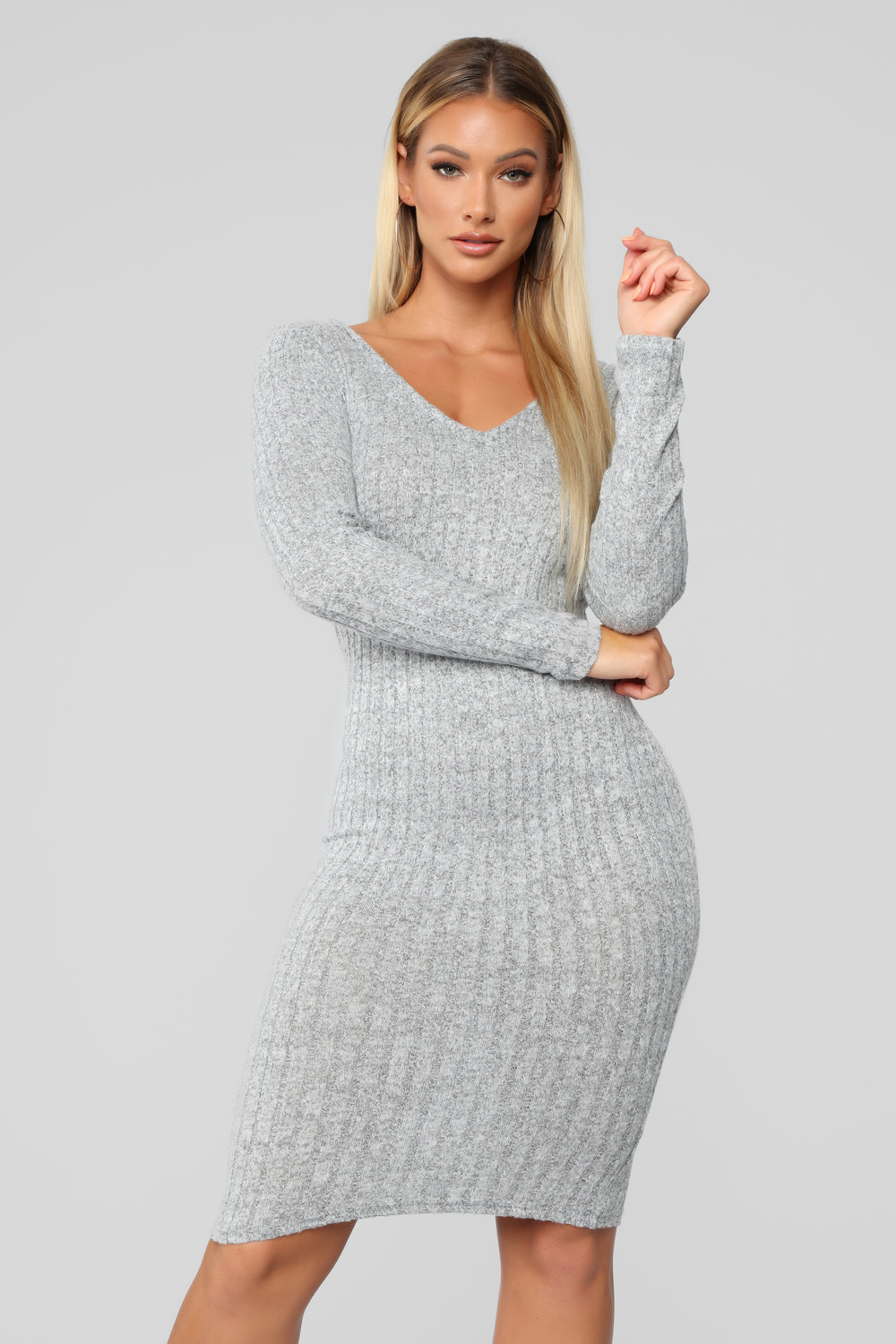 For The Thrill Of It Midi Dress - Heather Grey