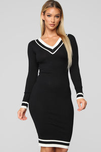 Rally Up Sweater Dress - Black/Ivory