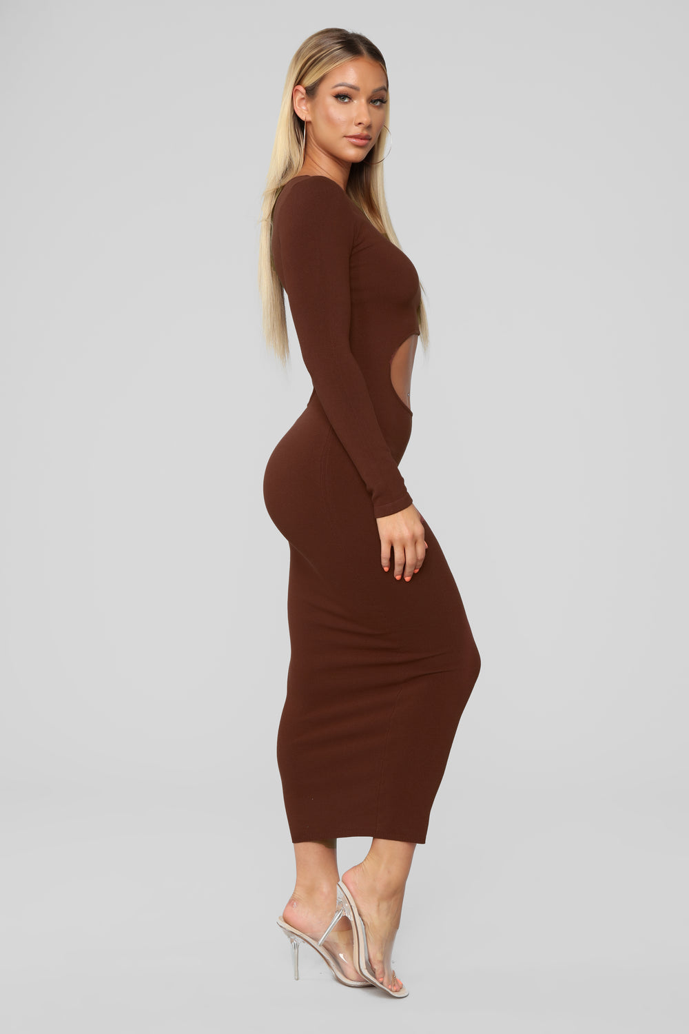 Cut Him Out Midi Dress - Chocolate