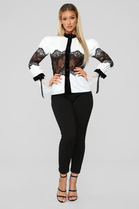 How Darling Chiffon Top - White/Black Angle 2