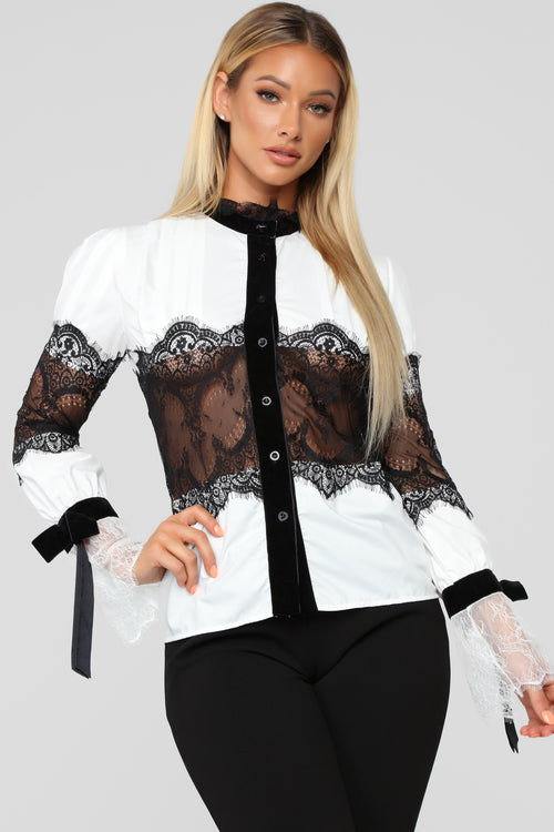 How Darling Chiffon Top - White/Black