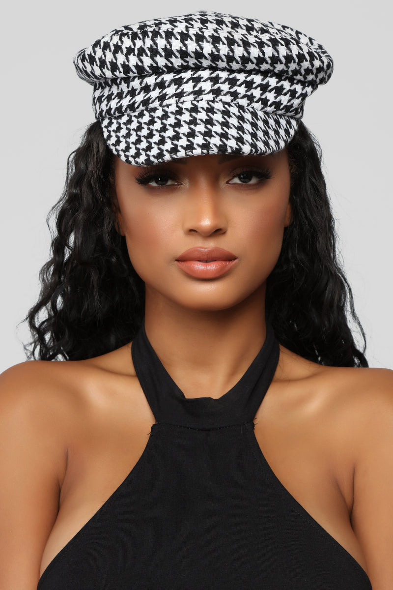 Biting Houndstooth Cap - Black