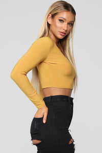 Louise V Neck Top - Mustard