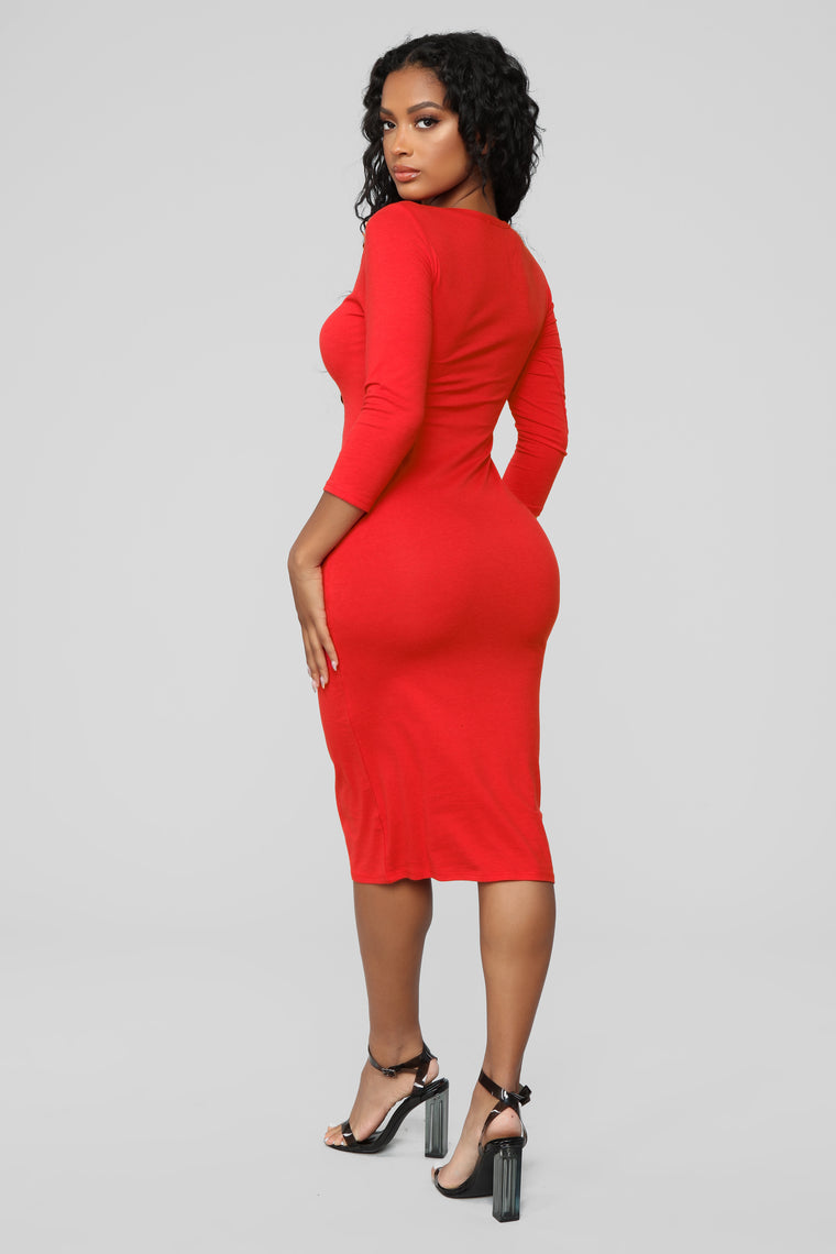 Keeping It Simple Midi Dress - Red