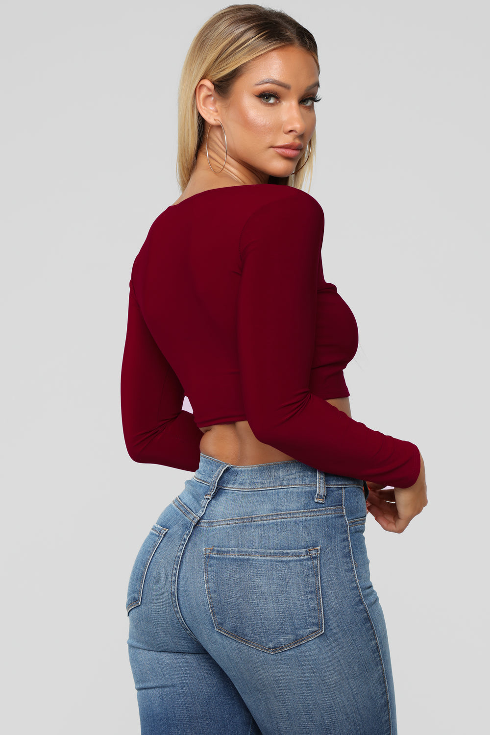 Louise V Neck Top - Burgundy