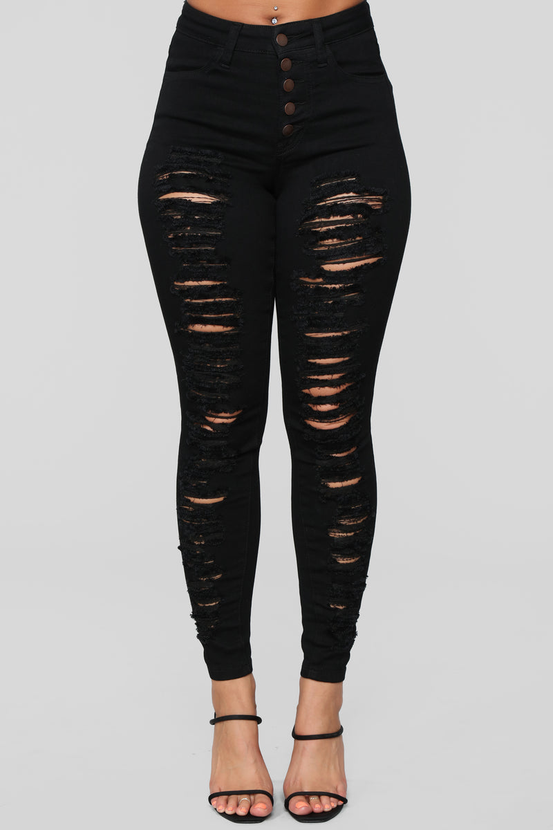 Right Up Your Alley Distressed Jeans - Black