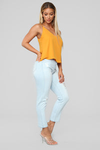 Summer Nights High Rise Distressed Jeans - Light Blue Wash