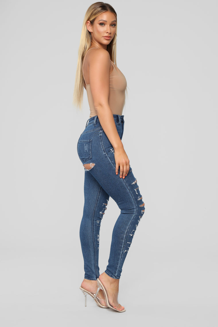 So Undone Distressed Skinny Jeans - Dark Denim