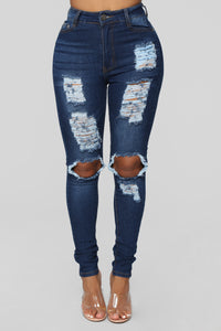 Say Yes To Distress Jeans - Dark Denim Angle 1