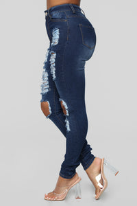 Say Yes To Distress Jeans - Dark Denim Angle 3