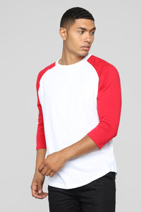 Mason 3/4 Sleeve Baseball Tee - Red/White