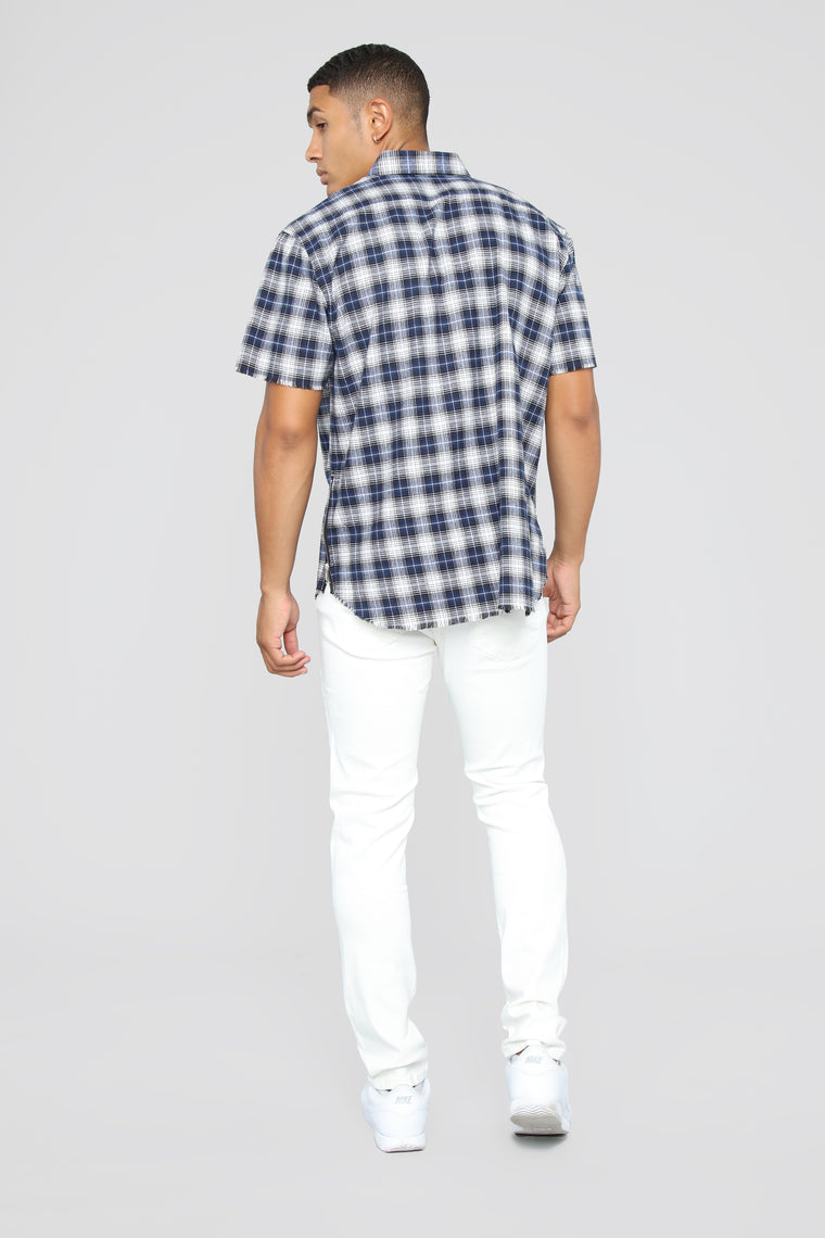 Mark Short Sleeve Flannel Top - Blue/Combo