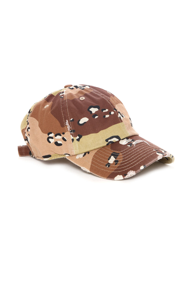 Instafamous Distressed Dad Hat - Brown/combo