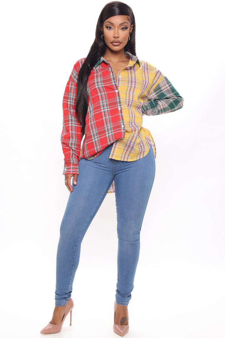 Mix And Mingle Plaid Top - Yellow/combo