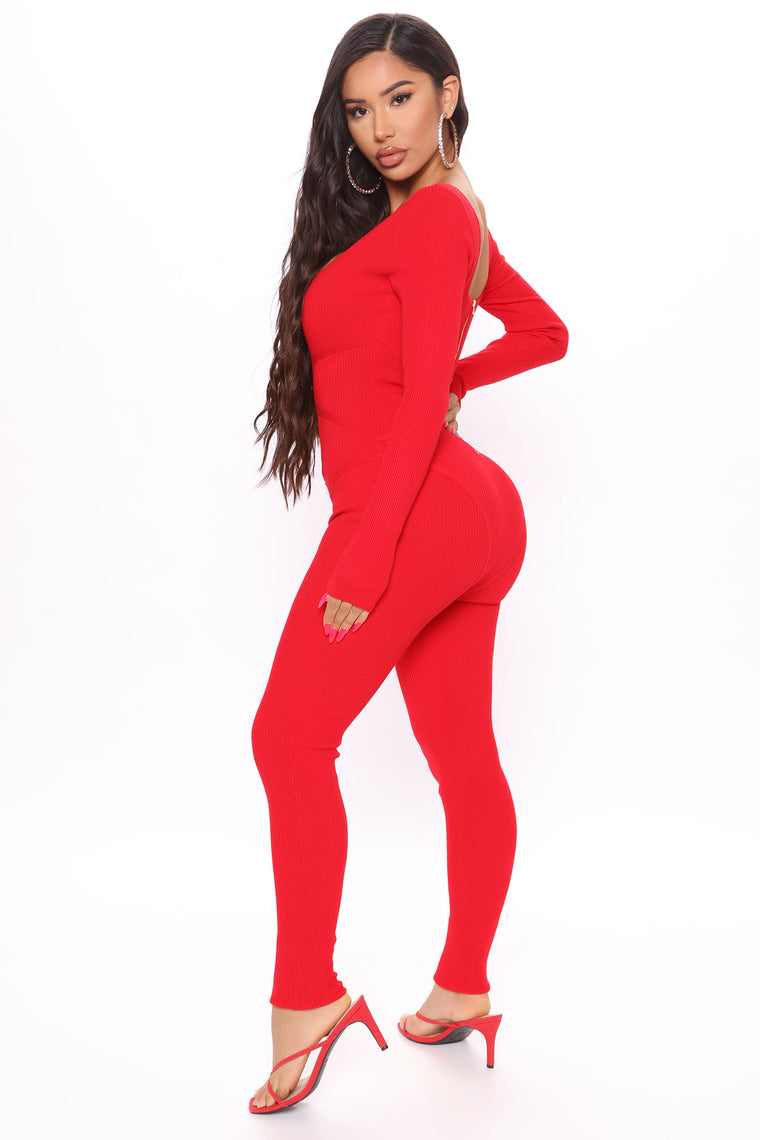 Love Me Madly Jumpsuit - Red