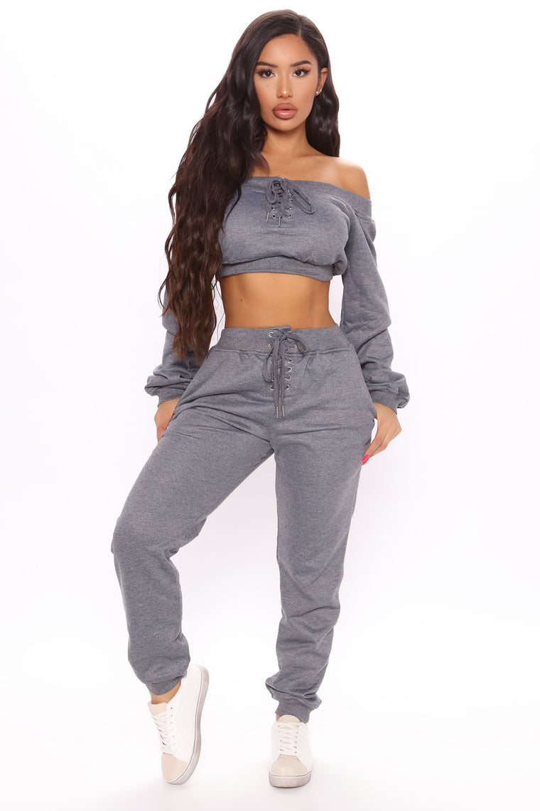 Time To Chill Jogger Set - Charcoal