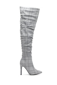 Taller Than You Heeled Boots - Plaid