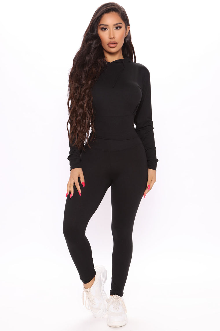Over Here Vibing 2 Piece Lounge Set - Black