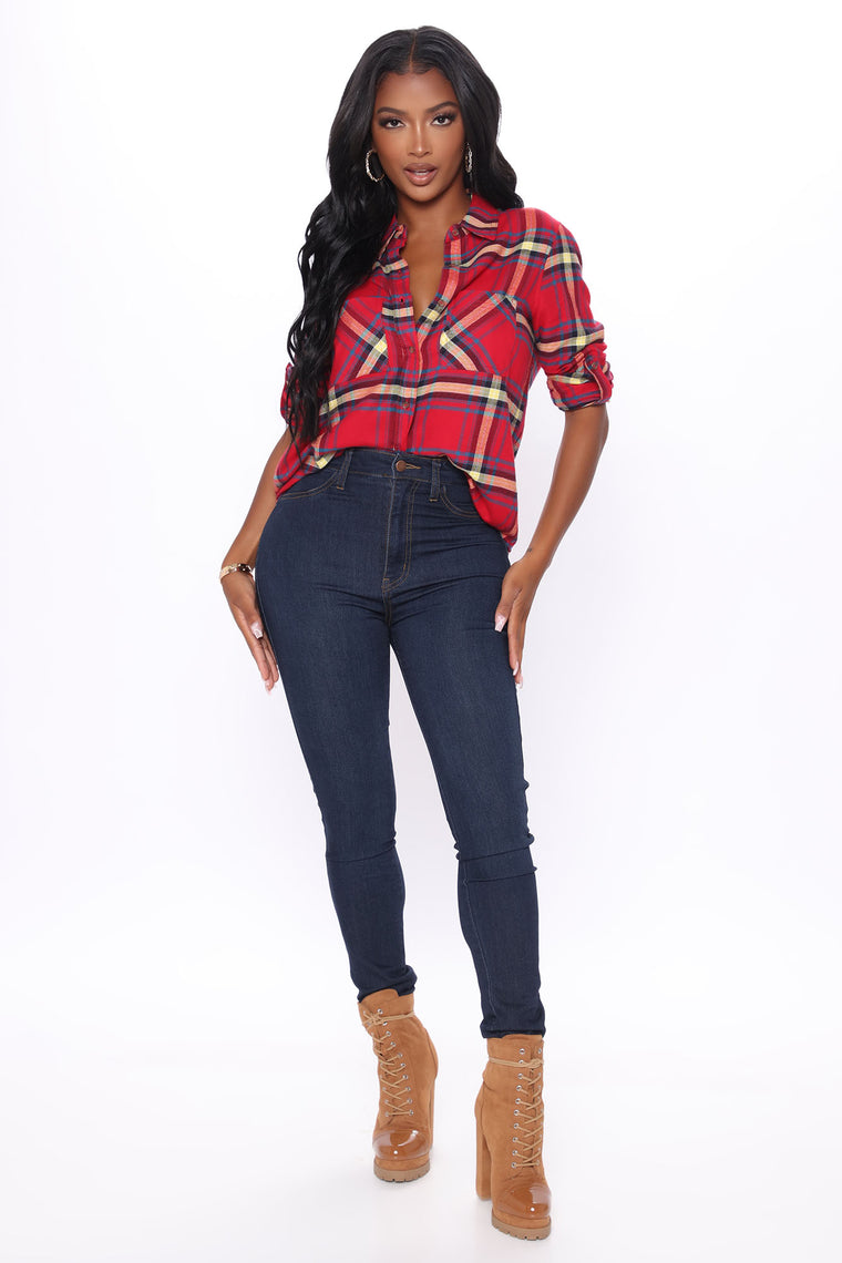 Square Are You Now Plaid Top - Red