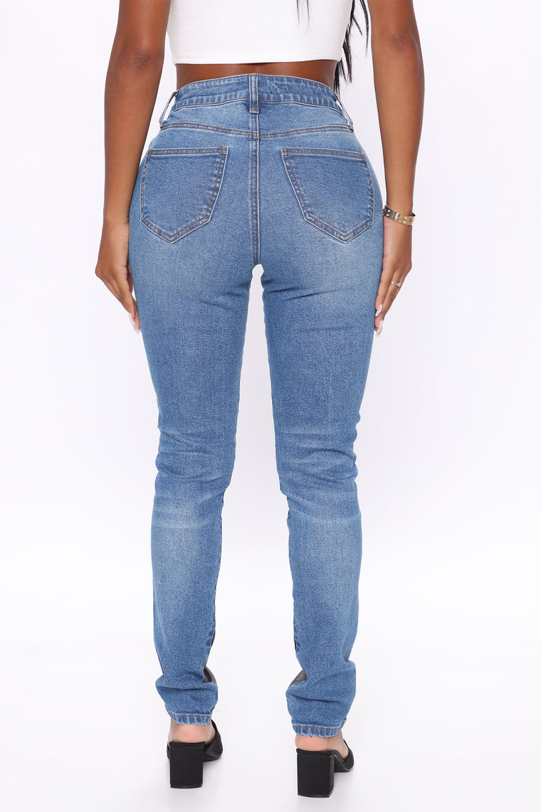 Don't Think Twice Contrast Skinny Jeans - Blue/combo