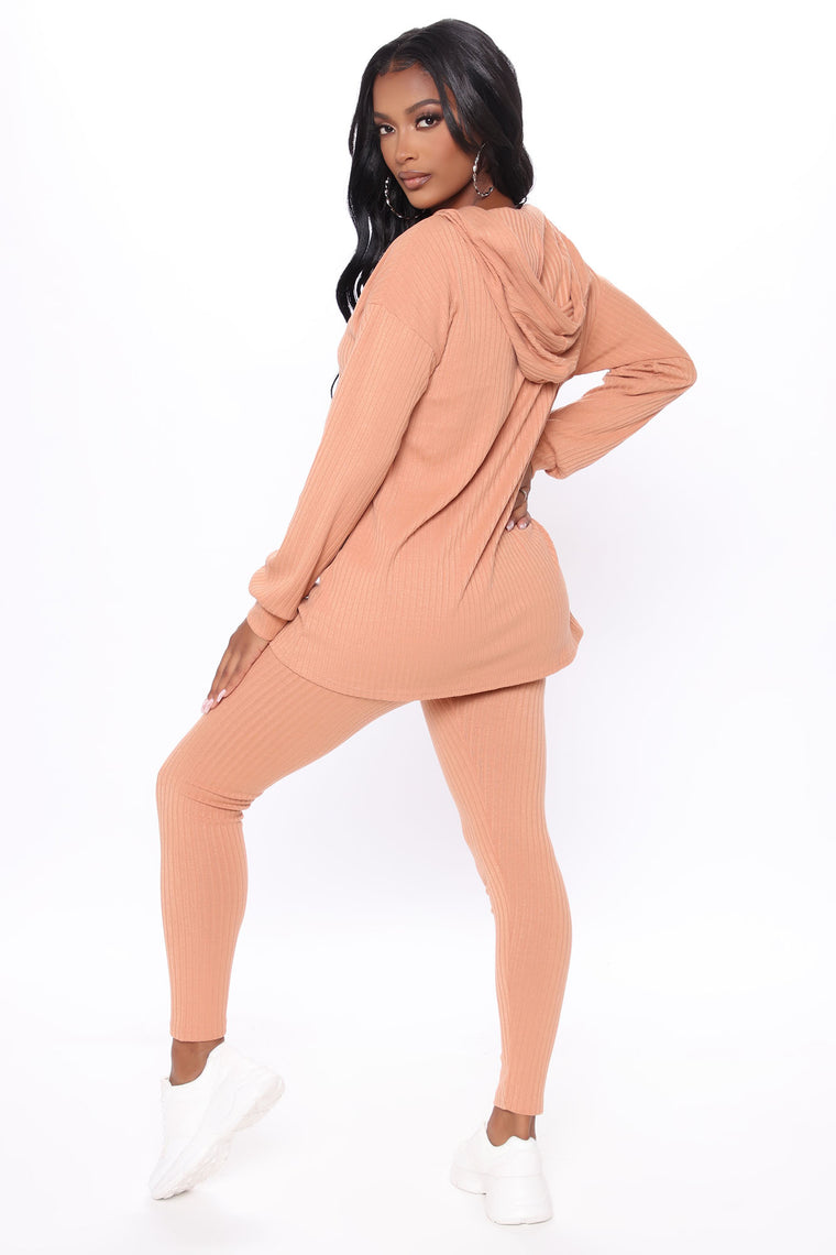Every Second Ribbed Lounge Hoodie Set - Clay