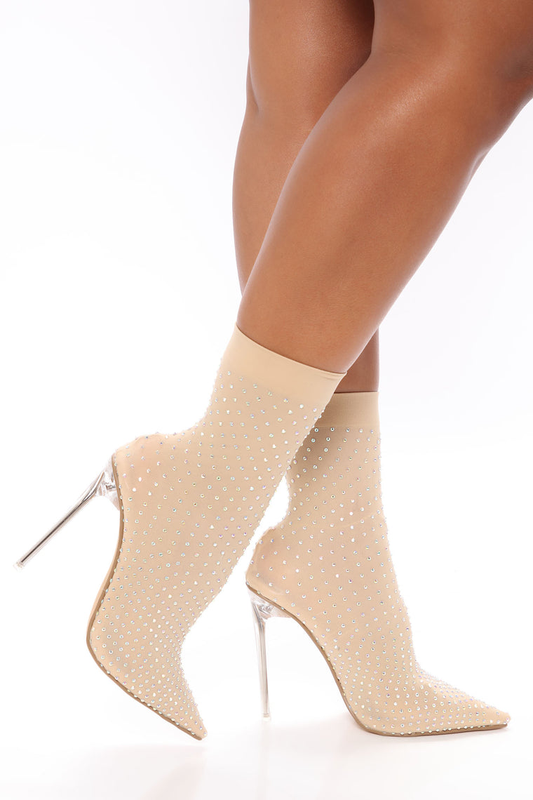 Late Nights Rhinestone Booties - Nude