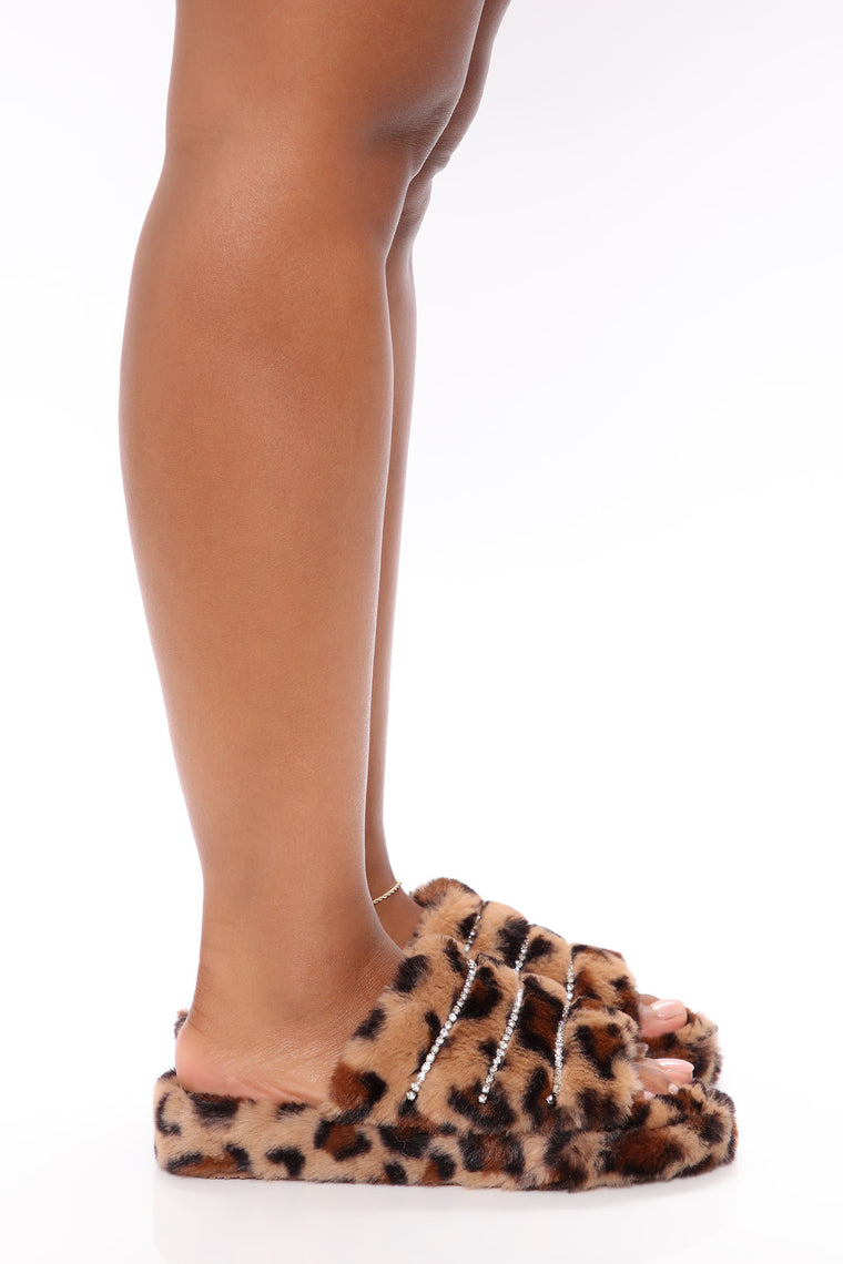 Need You Now Faux Fur Slides - Leopard