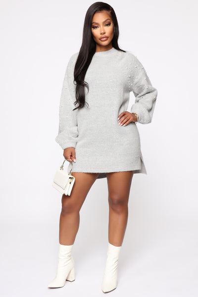 Short Sweater Dress With Pearls