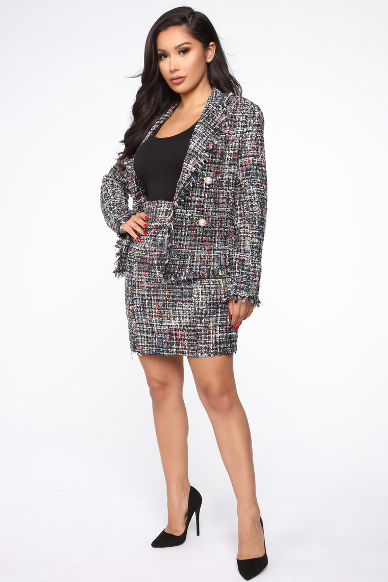 Miranda Button Blazer - Black Multi