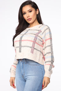 All About Plaid Sweater - Multi Color