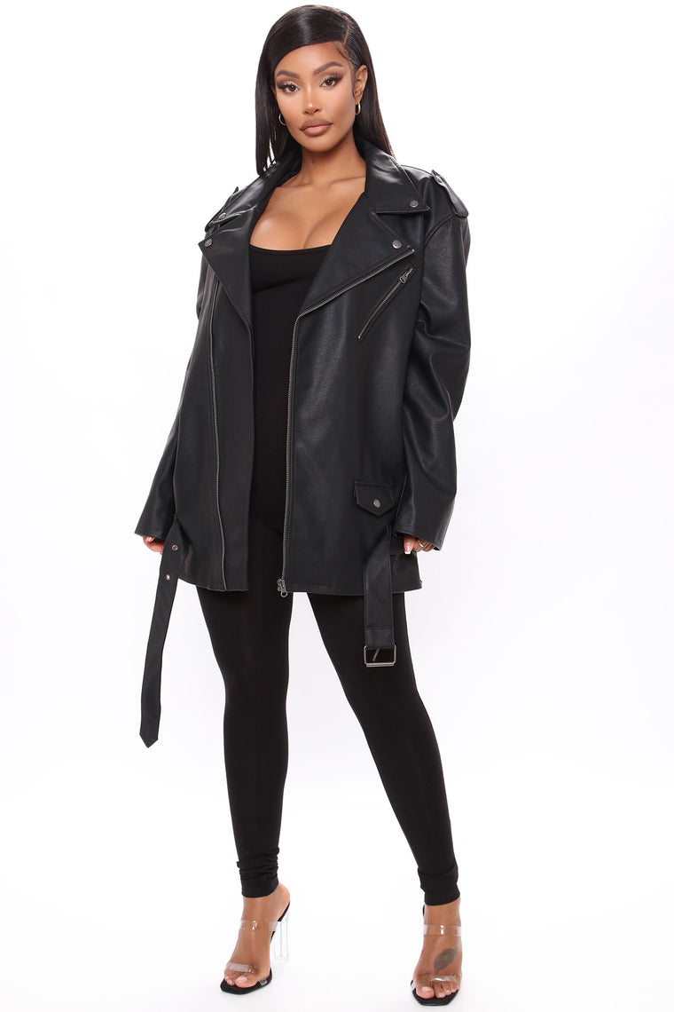 Something About You Faux Leather Moto Jacket - Black