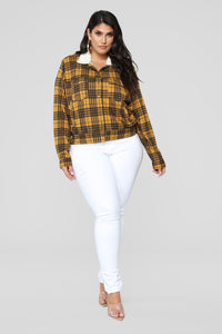 Casual Lover Sherpa Plaid Jacket - Mustard/combo Angle 9