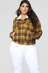 Casual Lover Sherpa Plaid Jacket - Mustard/combo Angle 6