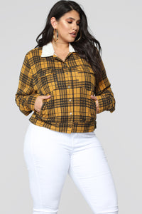 Casual Lover Sherpa Plaid Jacket - Mustard/combo Angle 8