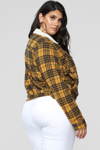 Casual Lover Sherpa Plaid Jacket - Mustard/combo Angle 10