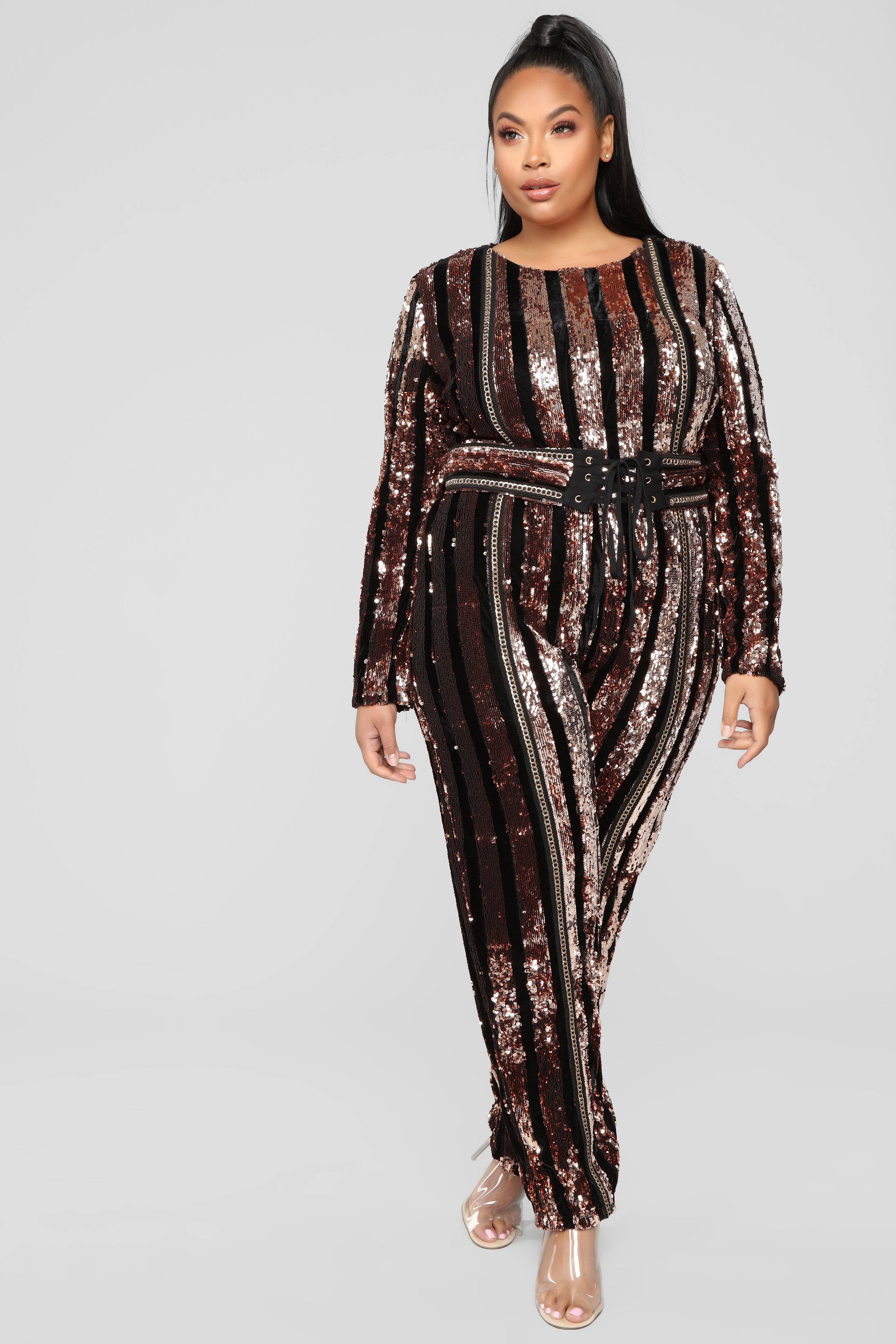1129c7354a55f Modern Disco Sequin Jumpsuit - Black Gold. plus-size