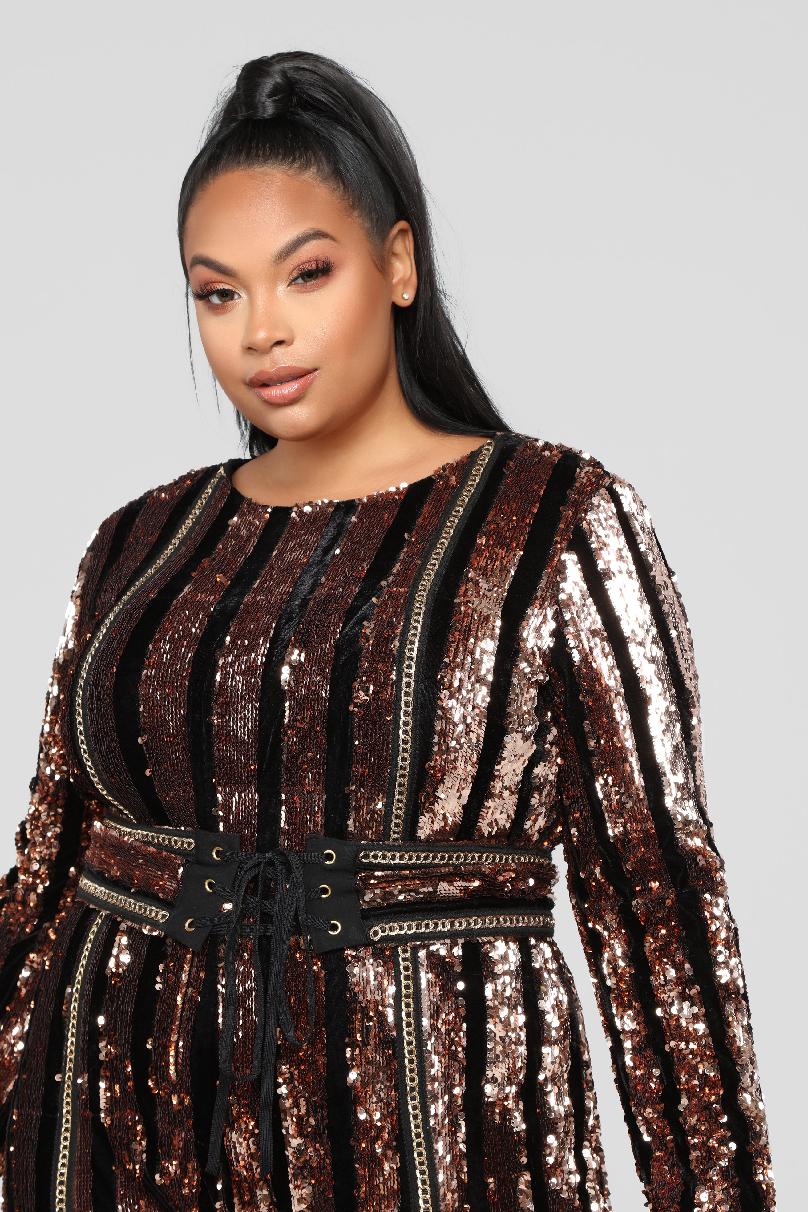 ac052bd966588 Modern Disco Sequin Jumpsuit - Black Gold. plus-size. plus-size