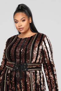 Modern Disco Sequin Jumpsuit - Black/Gold