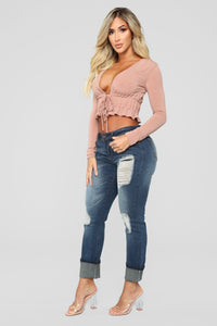 Poker Face Long Sleeve Front Tie Top - Rust