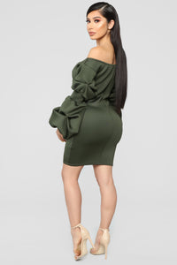 Allana Ruched Dress - Olive