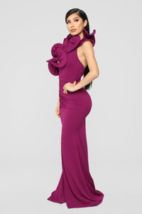 Cue The Paparazzi Ruched Maxi Gown - Violet