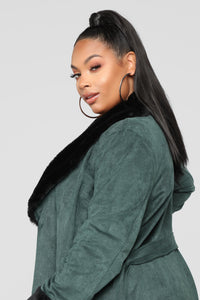 Don't Love You Faux Fur Coat - Green