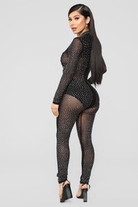Rhinestone Royalty Mesh Jumpsuit - Black