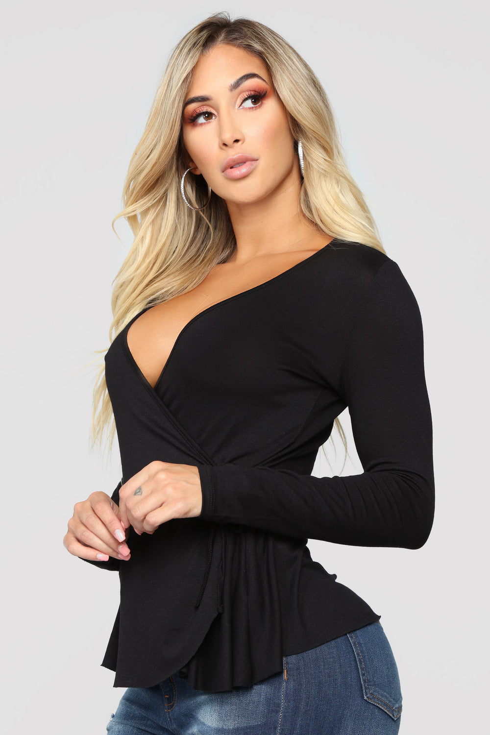 So Classic Long Sleeve Wrap Top - Black
